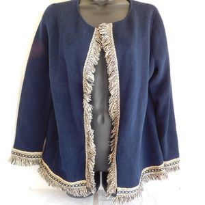 CHICO'S NAVY BLUE OPEN FRONT CARDIGAN FRINGED